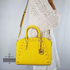 Michael Kors citrus Ciara studded medium satchel